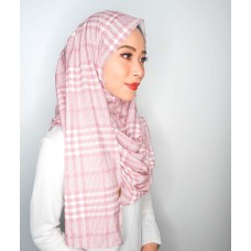 Instant Shawl 1.0 (Satin silk printed series: Checks print in Pink)