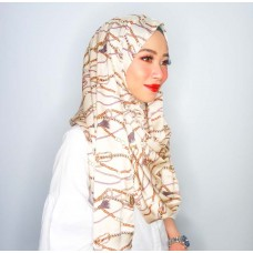 Instant Shawl 1.0 (Satin silk printed series: Chains in White)