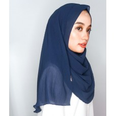Instant Shawl 1.0 Pleated chiffon (Navy Blue)