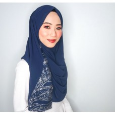 Instant Shawl 1.0 (Glitz Series : Navy Blue)