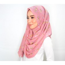 Instant Shawl 1.0 (Mixed Crepe Printed Series: Dainty floral pink)