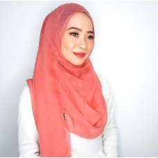 Instant Shawl 1.0 (Dots Textured series-Deep Coral)