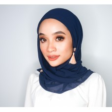 CALI Semi Instant Shawl with Inner (Chiffon - Navy Blue)
