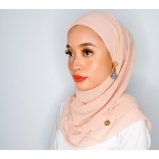 CALI Semi Instant Shawl with Inner (Chiffon - Salmon Pink)
