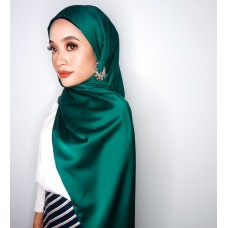 Camellia Semi Instant Shawl with attached Inner (Satin silk - Emerald Green)