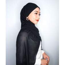 Camellia Semi Instant Shawl with attached Inner (Chiffon - Black)