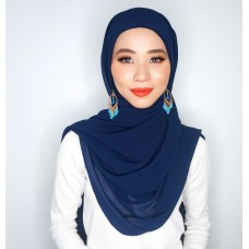 Camellia Semi Instant Shawl with attached Inner (Chiffon - Navy Blue)