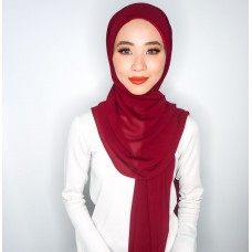 Camellia Semi Instant Shawl with attached Inner (Chiffon - Apple Spice Red)