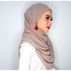 Camellia Semi Instant Shawl with attached Inner (Chiffon - Taupe)