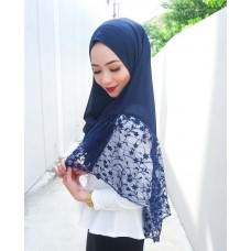Instant shawl Rania (Lace floral series: Navy Blue)