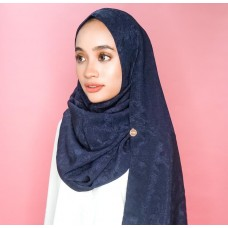 Instant Shawl Rania (Embossed Silky Cotton Series: Navy Blue)