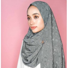 Instant Shawl Rania (Embossed Silky Cotton Series: Grizzle Grey)
