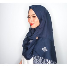 Instant shawl Rania (Songket series: Intan in Navy Blue)