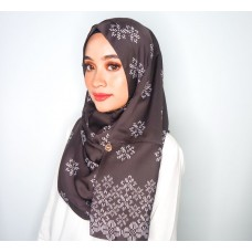 Instant shawl Rania (Songket series: Asmaa in Saddle Brown)