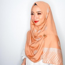 Instant shawl Rania (Songket series: Intan in Salmon Bisque)