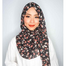 Instant shawl Luxe V2 (Chiffon printed series: Sophie in Black)