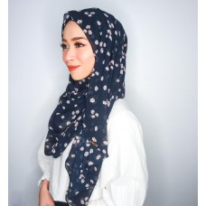 Instant shawl Luxe V2 (Chiffon printed series: Quinn in Navy Blue)