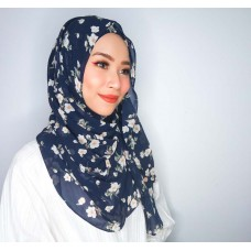 Instant shawl Luxe V2 (Chiffon printed series: Thea in Navy Blue)