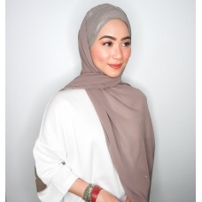 CYRA Semi Instant Shawl with V Metallic Inner (Chiffon - Taupe)