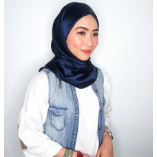 CALI Semi Instant Shawl with Inner (Satin Silk - Navy Blue)