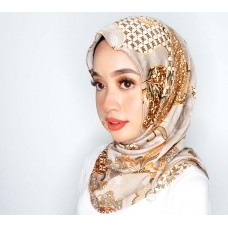 Chloe Semi Instant Shawl (Printed Batik Motif Satin silk - Aisha in Cocoa Brown)