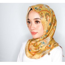 Chloe Semi Instant Shawl (Printed Batik Motif Satin silk - Amina in Gold)