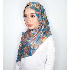 Chloe Semi Instant Shawl (Printed Batik Motif Satin silk - Amina in Steel Blue)