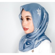 Chloe Semi Instant Shawl (Printed Songket Motif Satin Silk - Asmaa in Cloud Blue)