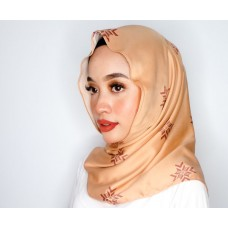 Chloe v back Triangle shawl (Printed Songket Motif Satin Silk - Asmaa in Cinnamon Brown)