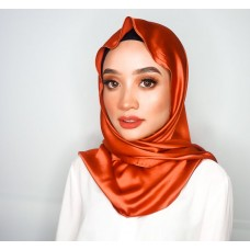 Chloe Semi Instant Shawl (Satin Silk - Burnt Amber)