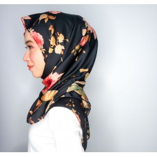 Chloe Semi Instant Shawl (Printed Satin Silk Black Series - Camilia)