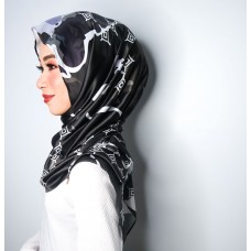 Chloe Semi Instant Shawl (Printed Satin Silk Black Series - Liv)