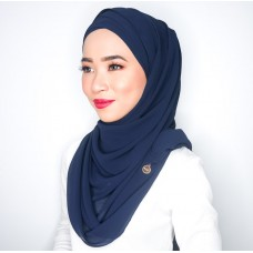 Cyra Semi Instant (Cross Inner attached with long shawl - Navy Blue)