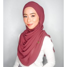 Cyra Semi Instant (Cross Inner attached with long shawl - Plum Rose)