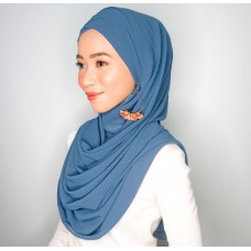 Cyra Semi Instant (Cross Inner attached with long shawl - Denim Blue)
