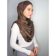 Cyra Semi Instant (Cross Inner attached with long shawl - Iron Free Metallic Chestnut Brown)