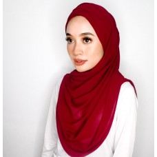 Cyra Semi Instant (Cross Inner attached with long shawl - Apple Spice Red)