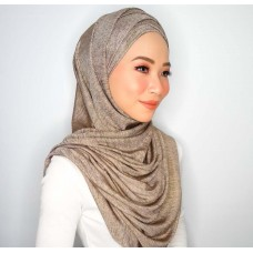 Cyra Semi Instant (Cross Inner attached with long shawl - Iron Free Metallic Gold Heir)