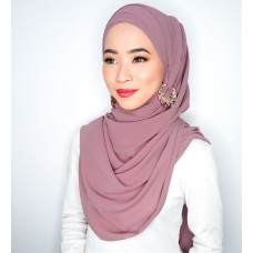 Cyra Semi Instant (Cross Inner attached with long shawl - Deep Mauve)