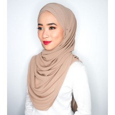 Cyra Semi Instant (Cross Inner attached with long shawl - Milk tea)