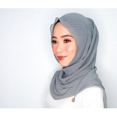 Chloe Semi Instant Shawl (Pleated Chiffon - Steel Grey)