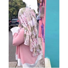 Instant Shawl Rania (Abstract Batik Pastel Brown)