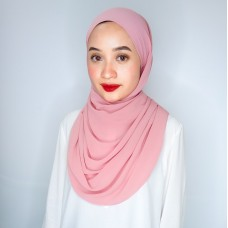 Tieback Claire Ribbed Chiffon (Pink rose)